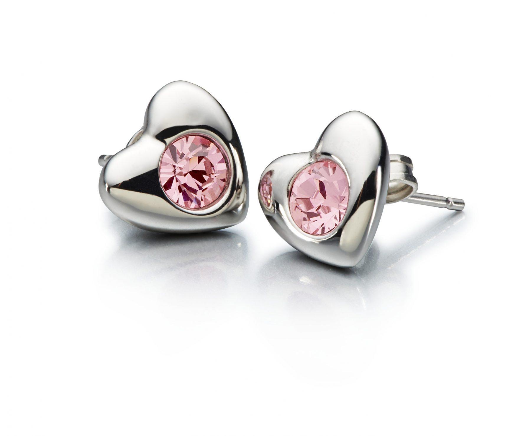 Chamilia Radiant Heart Earrings-Pink Swarovski