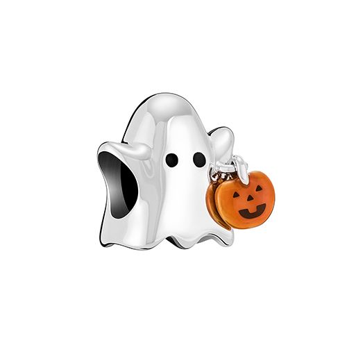 TRICK OR TREAT GHOST – STERLING SILVER WITH ORANGE AND BLACK ENAMEL