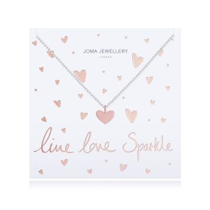 Joma Jewellery Live, Love, Sparkle Rose Gold Heart Necklace