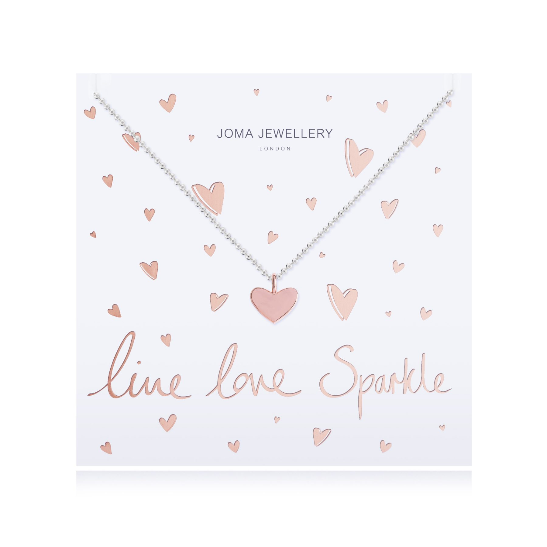 Joma Jewellery Live, Love, Sparkle Rose Gold Heart Necklace