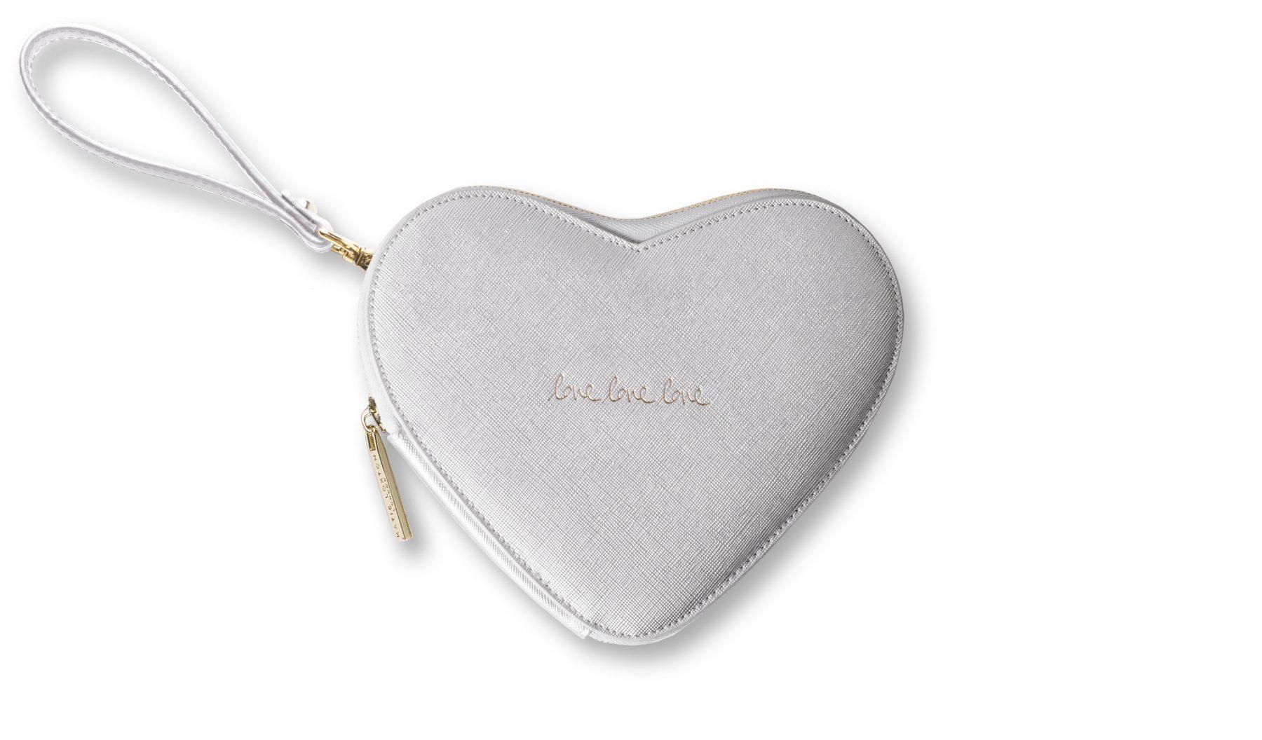 Katie Loxton Love Heart Pouch-Silver