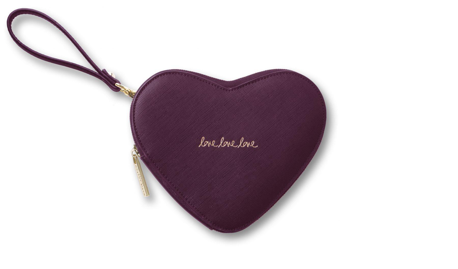 Katie Loxton Love Heart Pouch-Burgandy