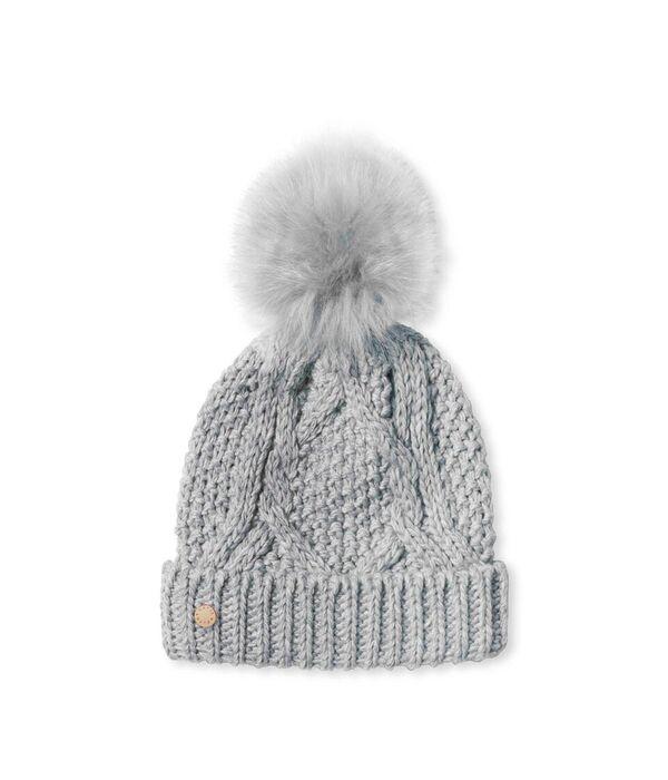 Katie Loxton Cable Knit Bobble Hat-Grey
