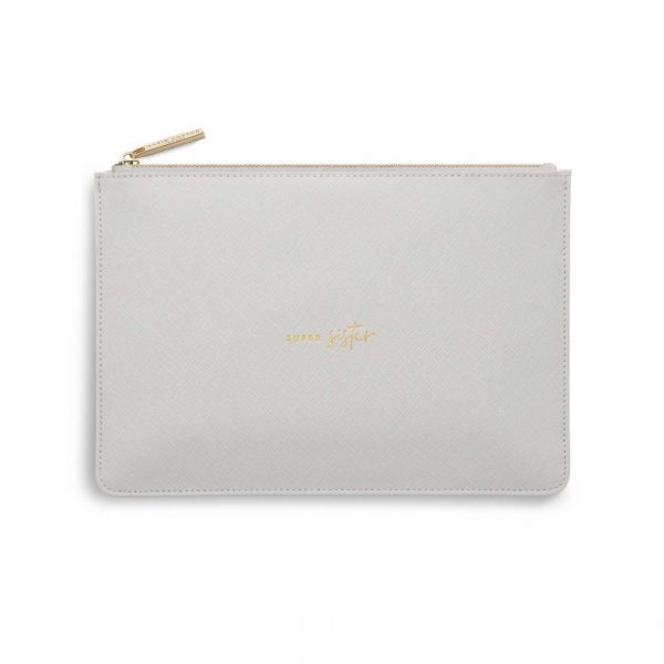 PRODUCT INFORMATION More Information Weight 110g Colour Pale Grey Height 16cm Width 24cm Detail Zip fastening Material 100% PU - Vegan Leather Sentiment Super Sister