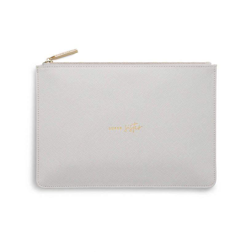 PRODUCT INFORMATION More Information Weight110g ColourPale Grey Height16cm Width24cm DetailZip fastening Material100% PU – Vegan Leather SentimentSuper Sister